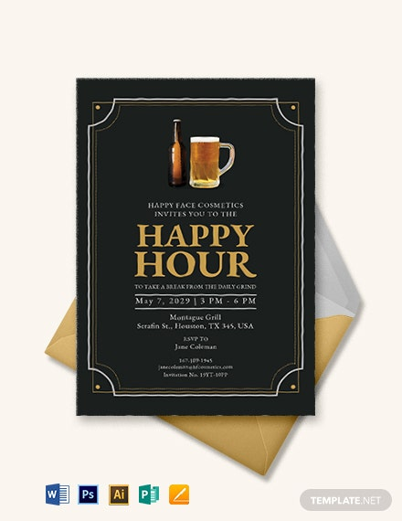 Vintage Happy Hour Invitation Template