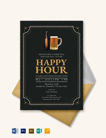 Vintage Happy Hour Invitation Template