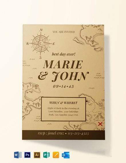 Vintage Map Fall Wedding Invitation Template