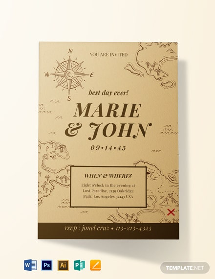Vintage Map Fall Wedding Invitation Template