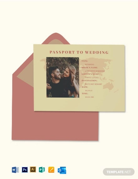 Vintage Passport Fall Wedding Invitation Template