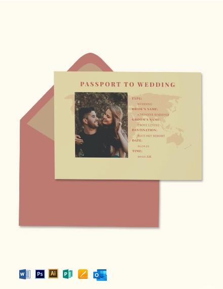 Vintage Passport Fall Wedding Invitation Template