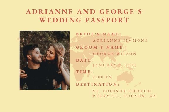 Vintage Passport Fall Wedding Invitation Template.jpe