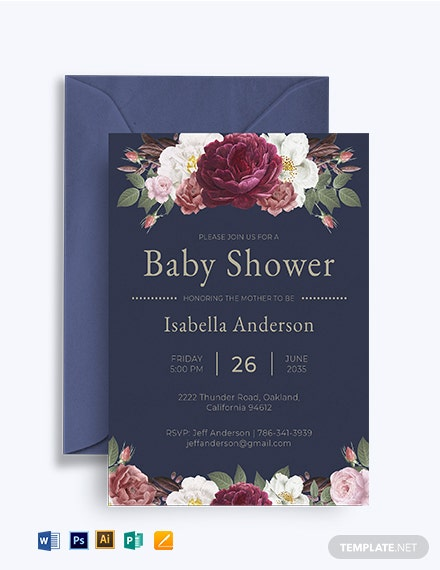 Vintage Roses Shower Invitation Template