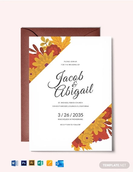 Warm Autumn Fall Wedding Invitation Template