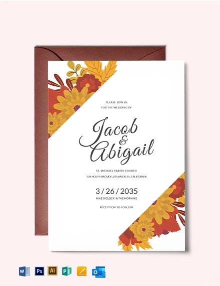 Warm Autumn Fall Wedding Invitation Template