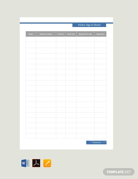Free Visitor Sign In Sheet Template