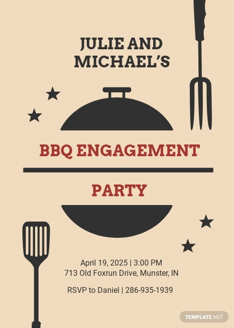 Fall Wedding Engagement BBQ Invitation Template