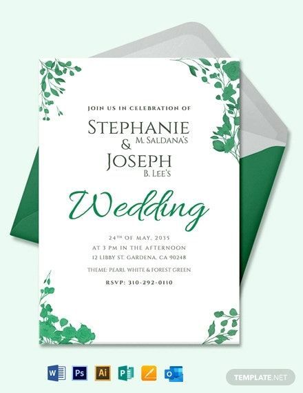 Fall Wedding Flower Invitation Card Template