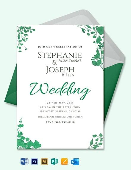 Fall Wedding Flower Invitation Card Template