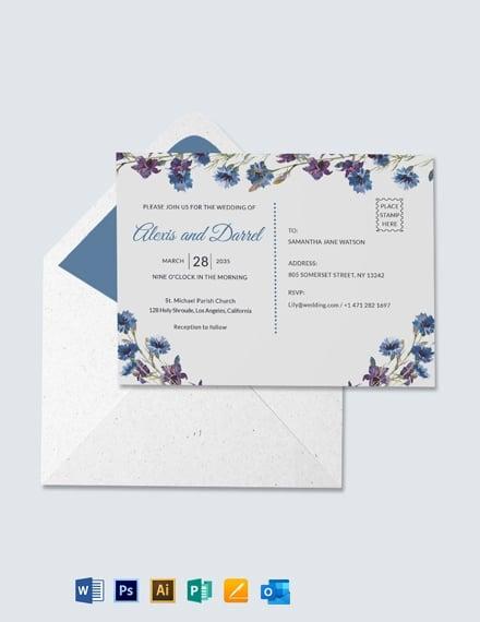 Fall Wedding Invitation Postcard Template