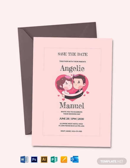 Wedding Mascot Invitation Template