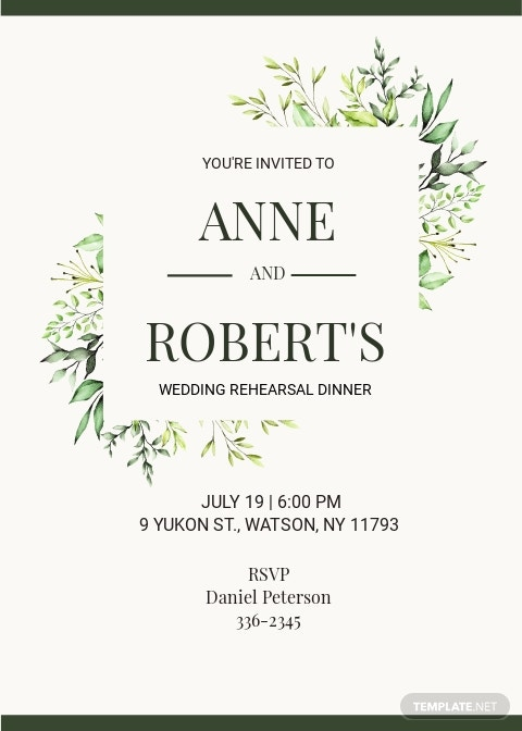 Fall Wedding Rehearsal Dinner Invitation Template