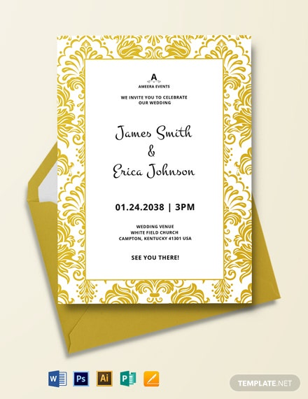 White And Gold Wedding Invitation Template