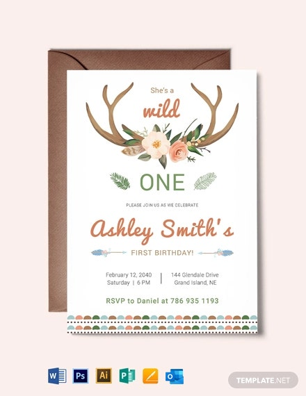 Wild One Boho Birthday Invitation Template