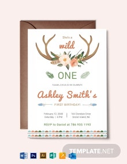 Wild One Boho Birthday Invitation Template