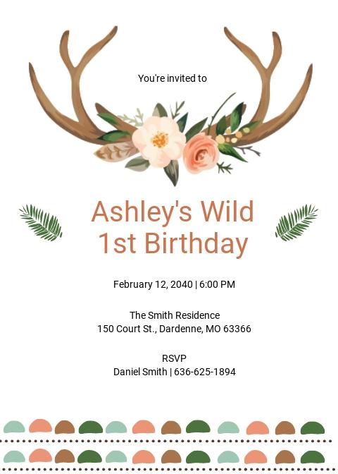 Wild One Boho Birthday Invitation Template.jpe