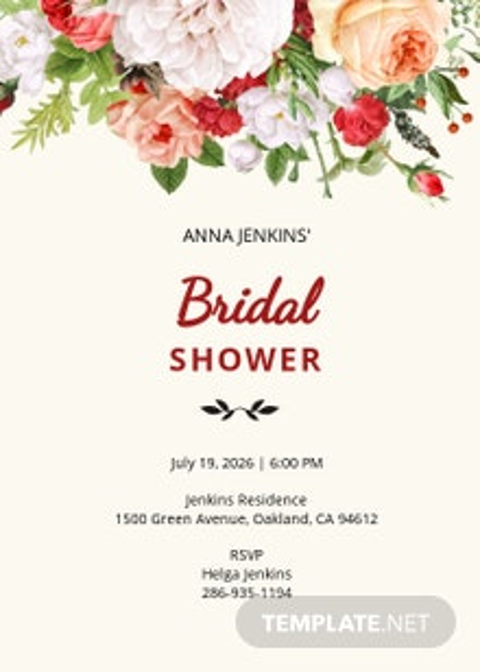 Wildflower Bridal Shower Invitation Template