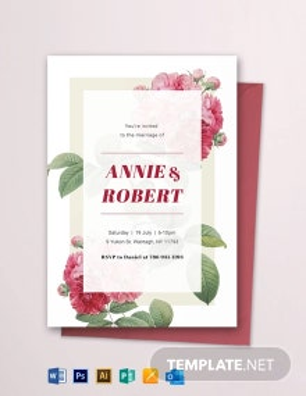 Wildflower Wedding Invitation Template
