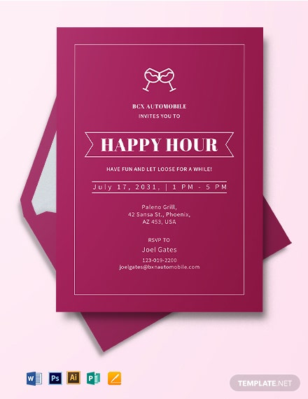 Professional Happy Hour Invitation Template