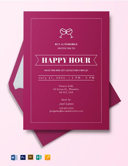Professional Happy Hour Invitation Template