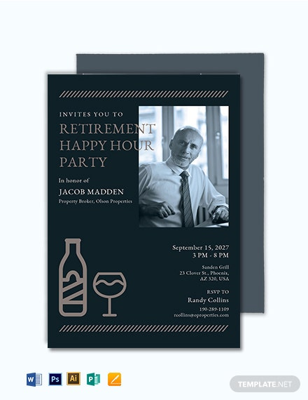 Retirement Happy Hour Invitation Template