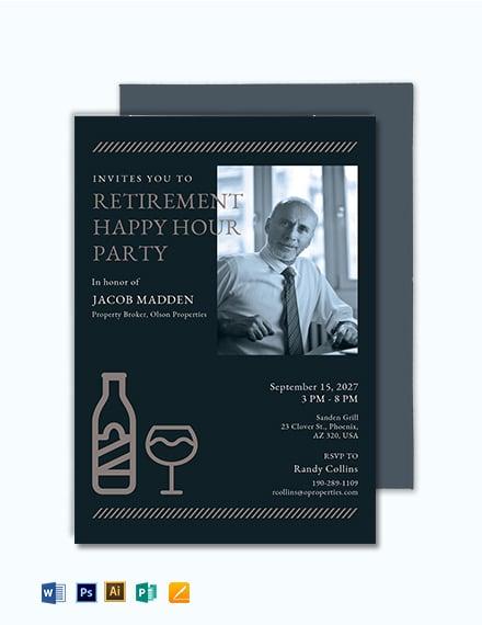 Retirement Happy Hour Invitation Template
