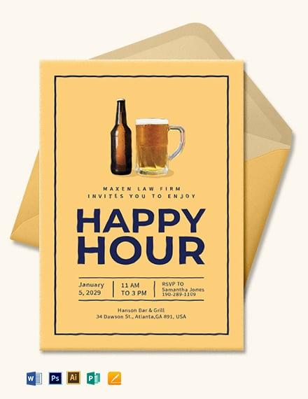 Simple Happy Hour Invitation Template