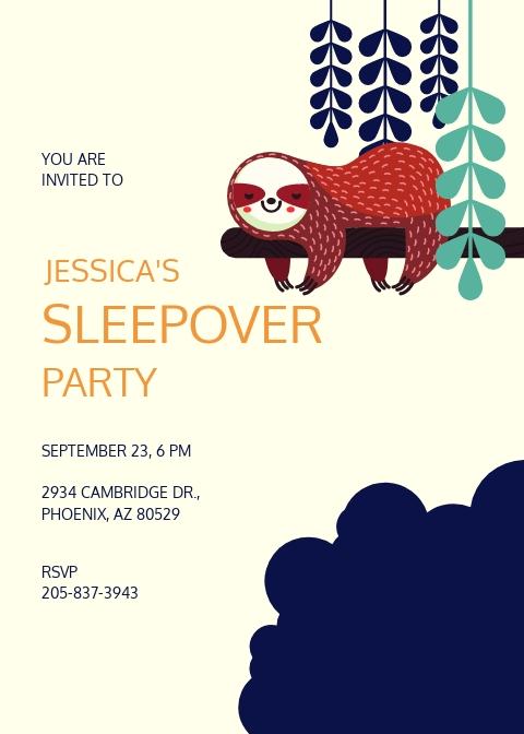 Sleepover Party Invitation Template.jpe