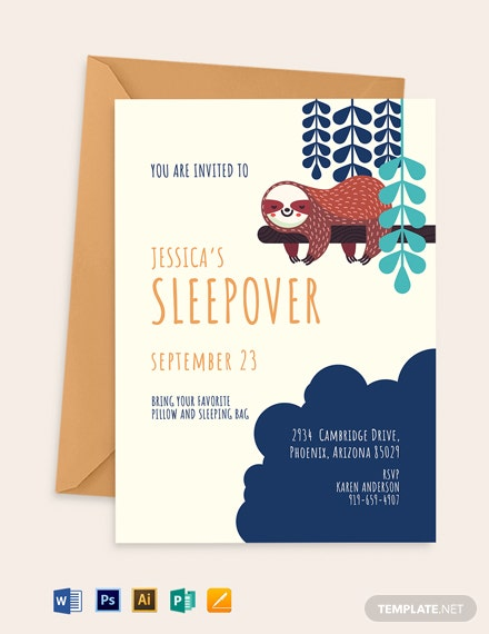 Sleepover Party Invitation Template