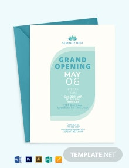 Spa Grand Opening Invitation Template