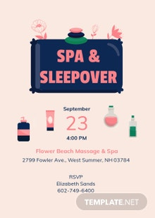 Spa Sleepover Invitation Template