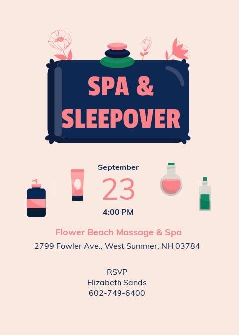 Spa Sleepover Invitation Template.jpe