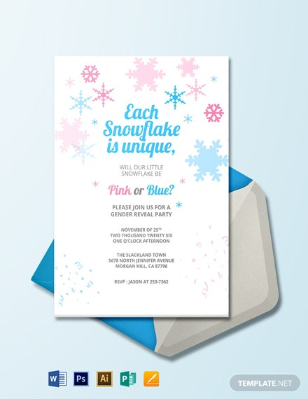 Winter Gender Reveal Invitation Template