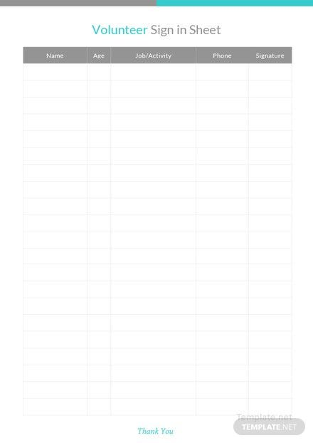 volunteer sign in sheet template download 239 sheets in word