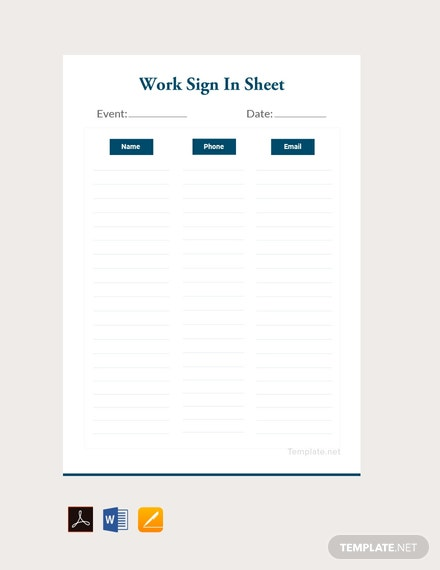 Free Work Sign In Sheet Template