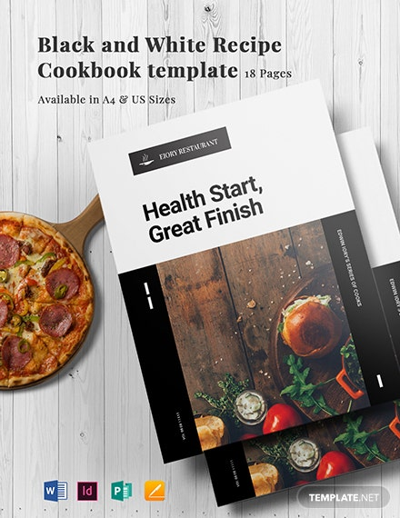 black and white recipe cookbook template