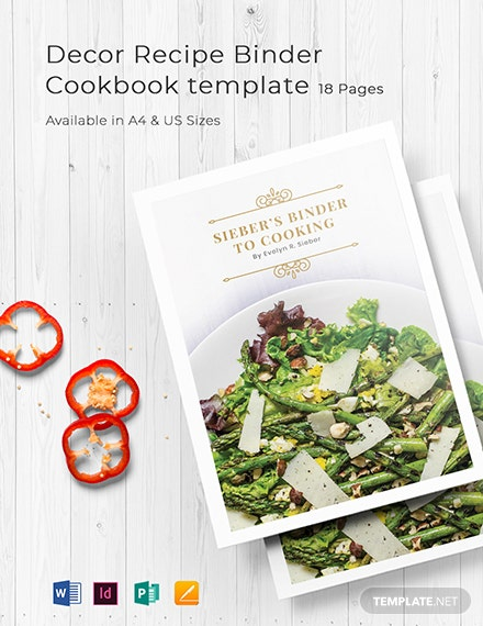 decor recipe binder cookbook template