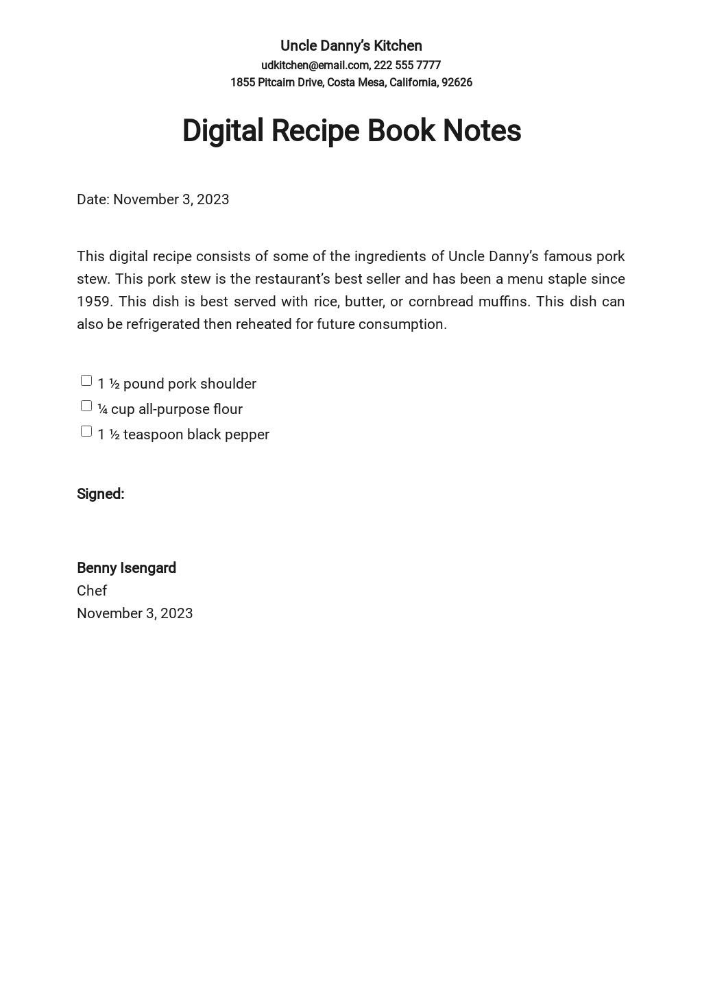 Digital Recipe Book Notes Template