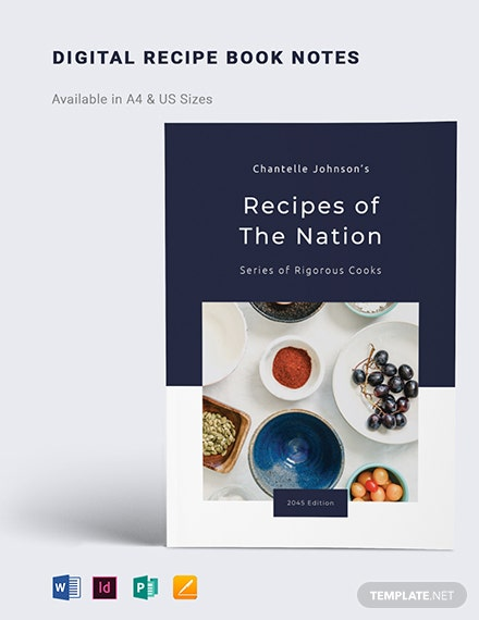 digital recipe book notes template