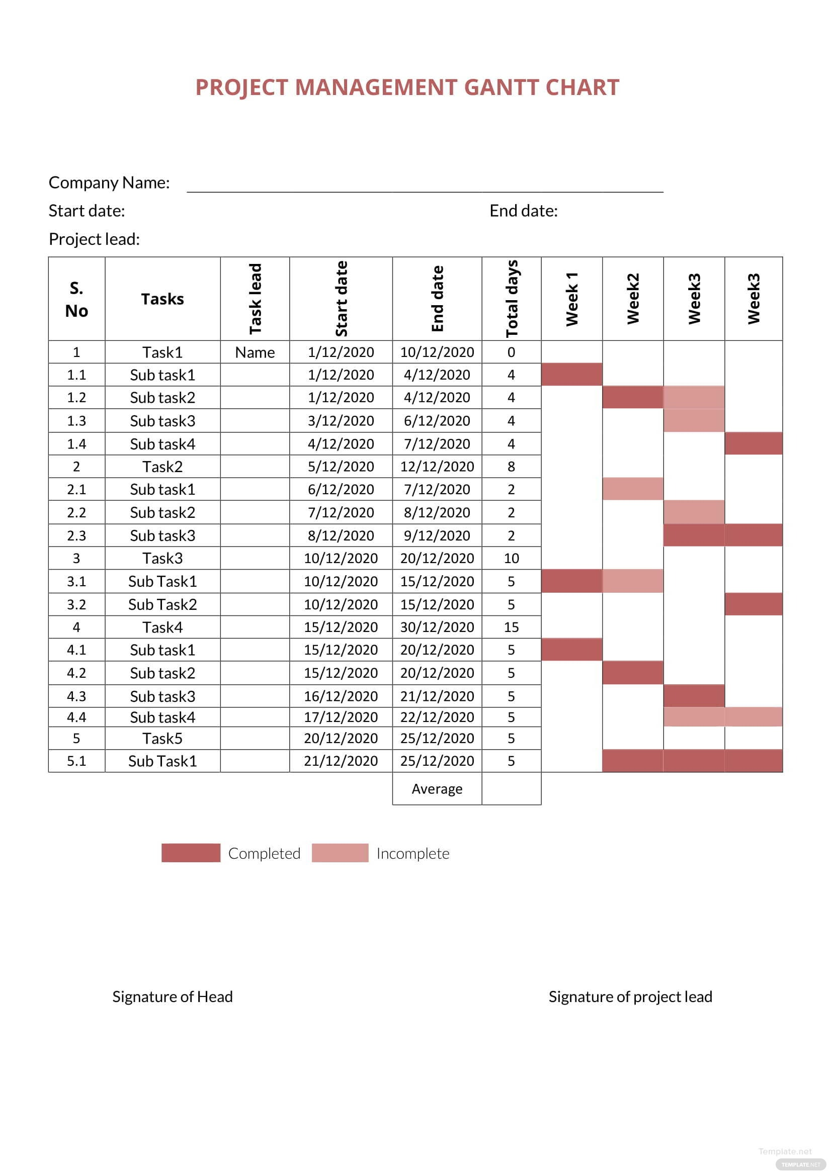 Project Management Gantt Chart Template In Microsoft Word