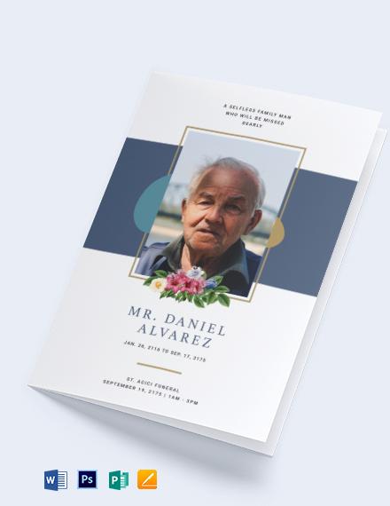 Creative Funeral Obituary Bi-Fold Brochure Template