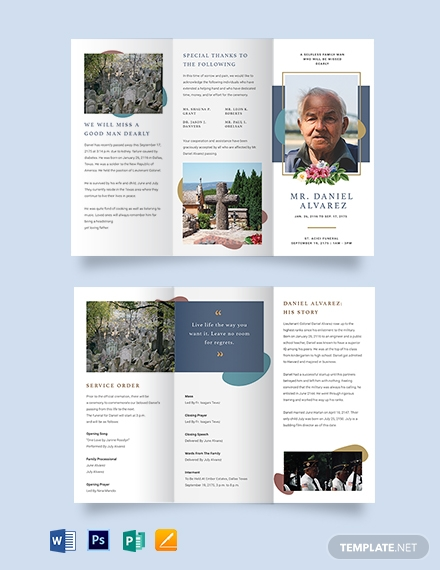 Creative Funeral Obituary Tri-Fold Brochure Template