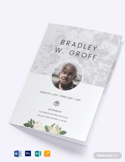 Editable Funeral Mass Bi-fold Brochure Template