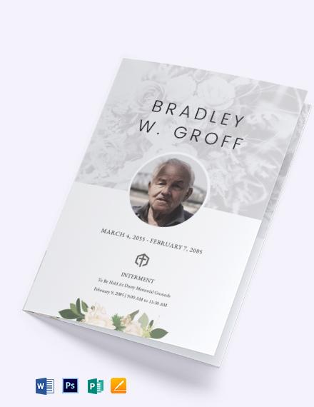 Editable Funeral Mass Bifold Brochure Template