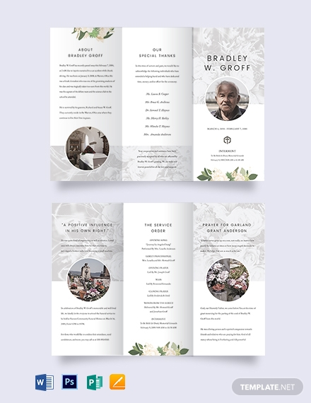 Editable Funeral Mass TriFold Brochure Template