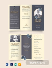 Father/Dad Funeral Program Tri-Fold Brochure Template