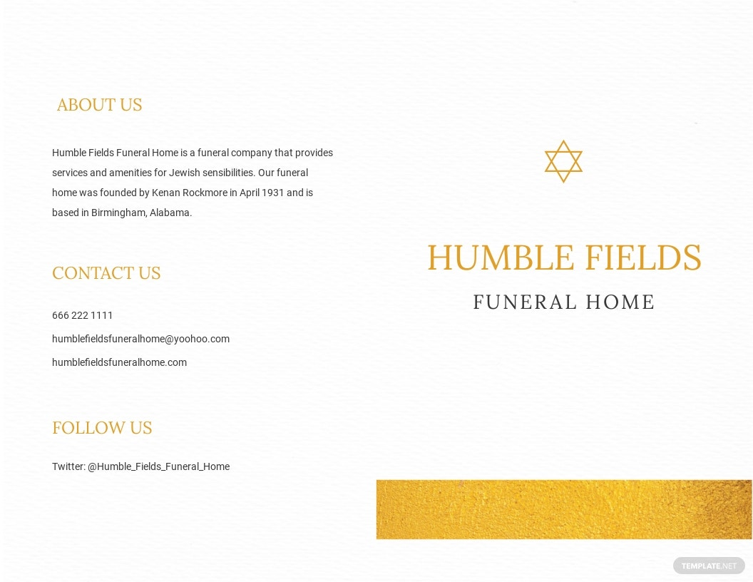 Jewish Funeral Obituary Bi-fold Brochure Template [Free JPG] - Word, Apple Pages, PSD
