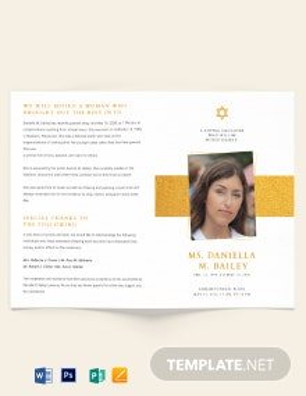 Jewish Funeral Obituary Bi-fold Brochure Template