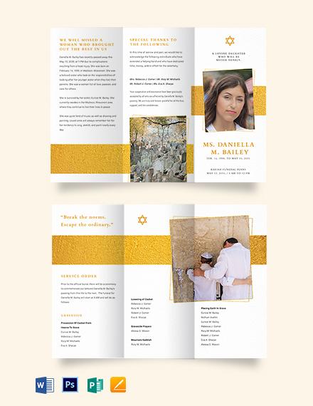 Jewish Funeral Obituary Tri-fold Brochure Template